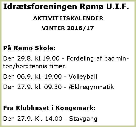 Rømø U.I.F. vinter 2016-17